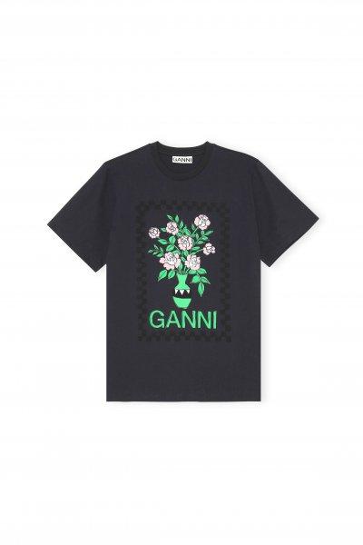 Ganni T-shirt mit Blumendruck