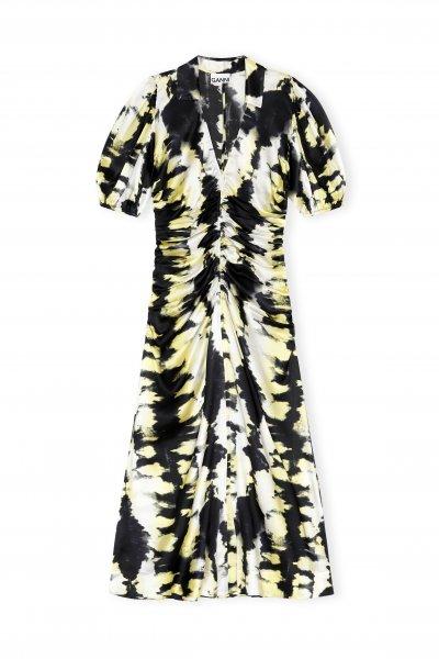 Ganni Kleid lang schwarz gelb