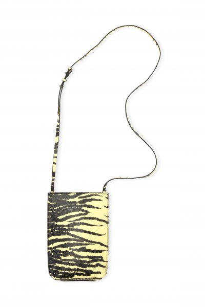 Ganni Recycled Leather Bag Yellow Zebra
