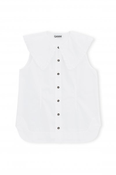 Ganni Cotton Bluse weiß