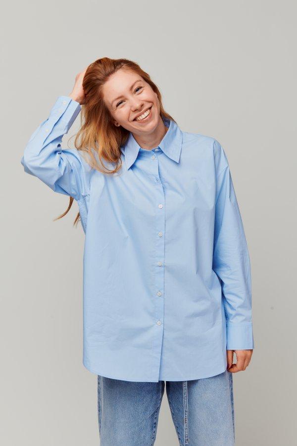 Oversized cotton tee blue