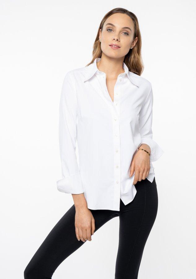 The classy white strech shirt