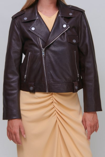 Ganni Jacket leather brown