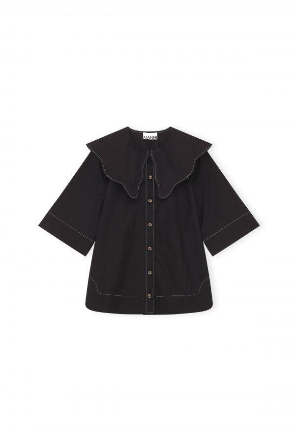 Cotton Poplin Bluse schwarz