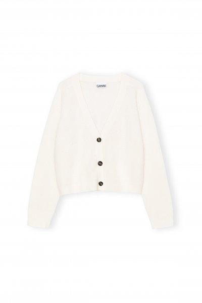 Ganni Soft Wool Cardigan white