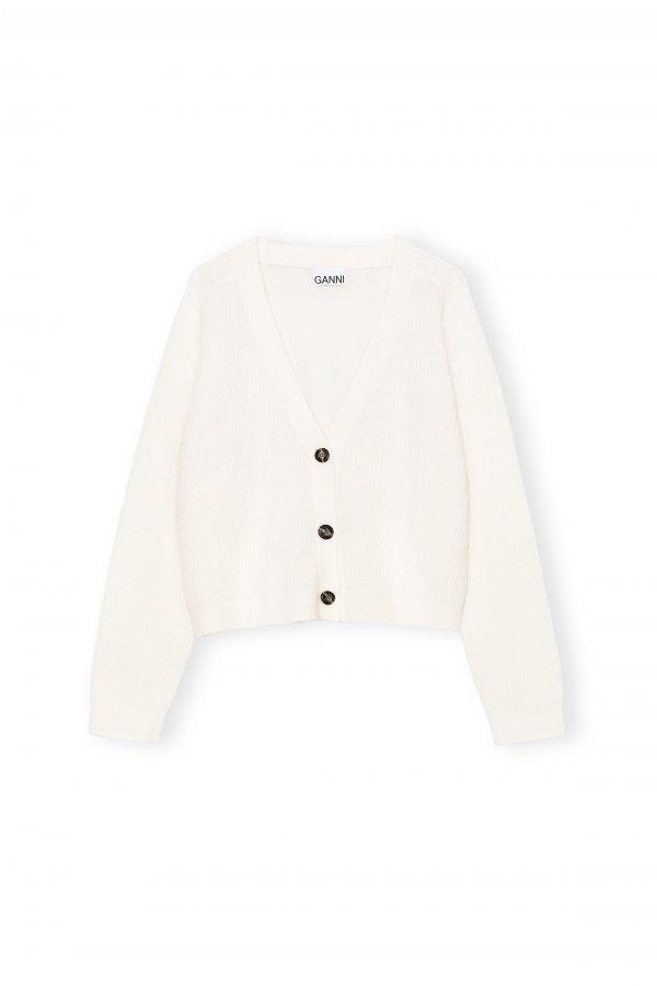 Soft Wool Cardigan white