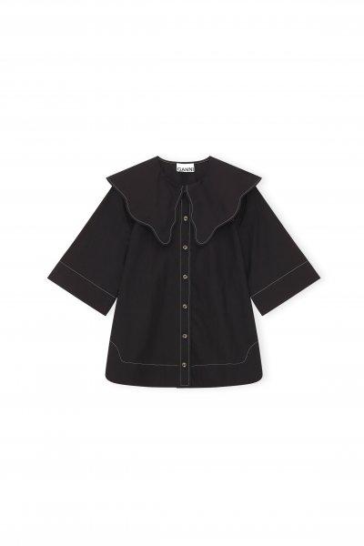 Ganni Cotton Poplin Bluse schwarz