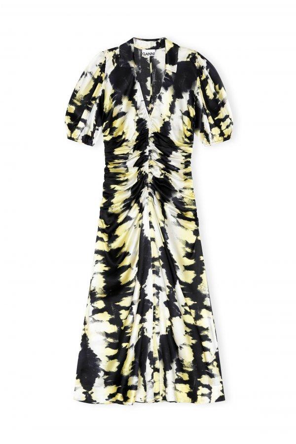 Kleid lang schwarz gelb