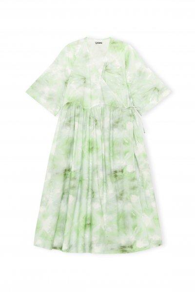 Ganni Dress Green gerafft